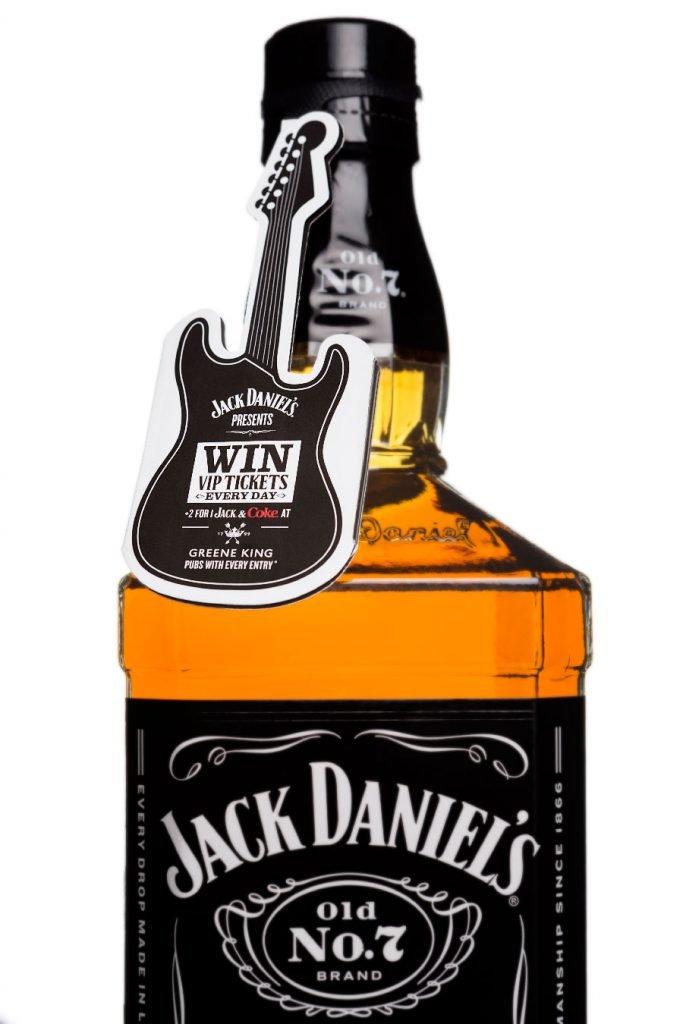shaped label guitar shape for jack daniel's packaging