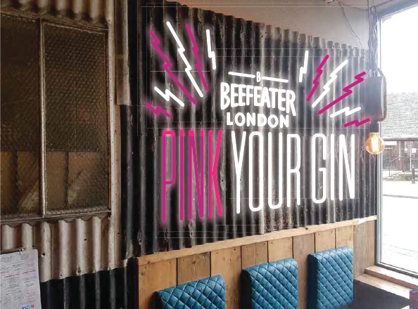 internal signage design for beefeater london