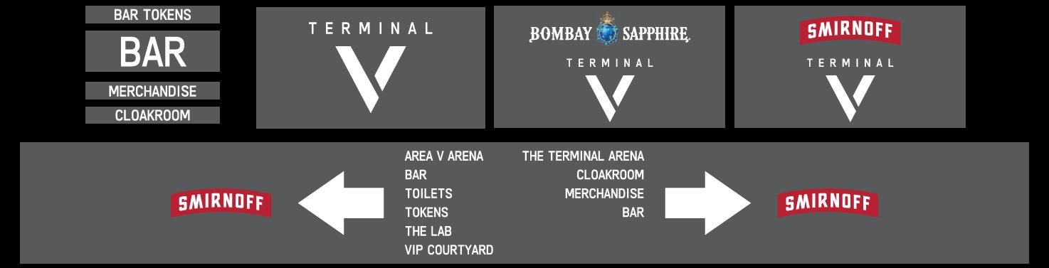 terminal v festival signage design and plans